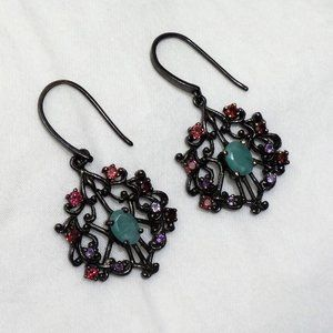 Emerald Sterling Silver Earrings, Black Rhodium Pl